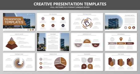 Set of brown elements for multipurpose presentation template slides with graphs and charts. Leaflet, corporate report, marketing, advertising, annual report, book cover design.