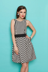 Beautiful Young Woman In Black And White Striped Dress