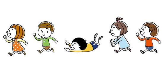 元気に走る子供たち