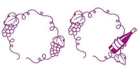 葡萄とワインのフレームセット