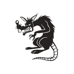 evil black rat cartoon illustration vector