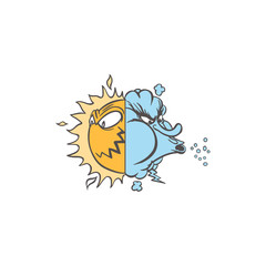 weather sun and wind face illustration.