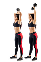 Young sportive woman fitness  of a brunette doing an exercise with a dumbbell on a biceps on a white isolated background, the sequence of doing exercises with dumbbells on the example of two positions
