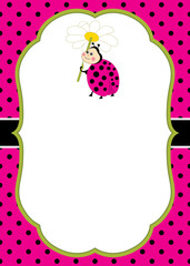 Vector Card Template with a Cute Ladybug on Polka Dot and Stripes Background. Vector Ladybird.