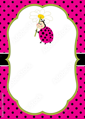 Vector Card Template with a Cute Ladybug on Polka Dot and Stripes ...