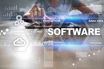 Wall Mural - Software development. Data Digital Programs System Technology Concept