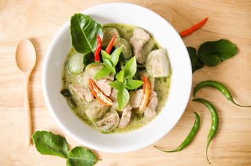 Thai food,green curry with pork in a bowl