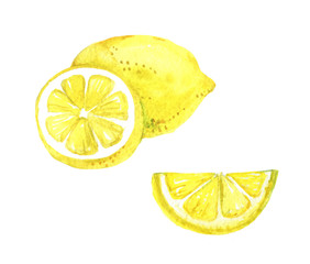 Lemon isolated on a white background, watercolor illustration
