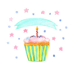 Cupcake with ribbon, candle, stars, watercolor illustration for your design