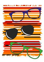occhiali da vista e da sole moderni con fondo arancione