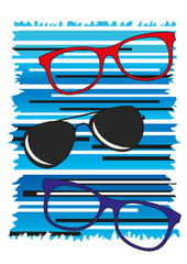 occhiali da vista e da sole moderni con fondo blu