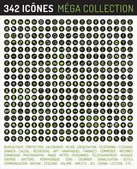 Collection de 342 icônes - vert sur fond noir