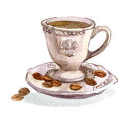 Cup of coffee and saucer isolated on a white background, watercolor illustration