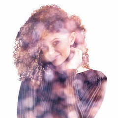 Double exposure of lovely woman portrait smiling and colorful bokeh background