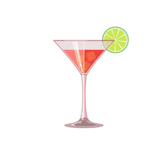 Glass of iced beverage. Juice, red wine or cocktail with lime. Icon, abstract concept. Flat design. Vector illustration on white background.