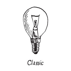 Classic lamp type, woodcut style design, hand drawn doodle, sketch in pop art style, isolated vector illustration