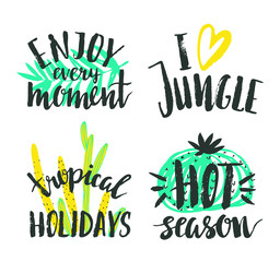Tropical hand drawn  calligraphy elements. Vector collection of bright summer lettering. Beautiful  quotes posters with palm leaves and cacti.