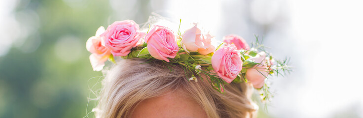 Close-up of wreath on head