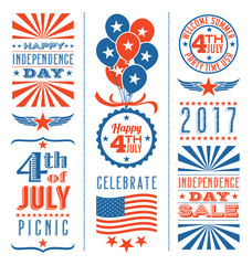 Retro 4th of July design elements for greeting cards, web page banners, posters