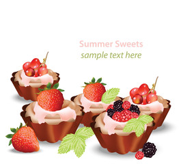 Delicious sweets and desserts with fruits tartlets. Summer confectionary bakery treats Vector