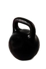 Black kettlebell on white background