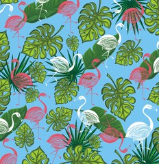 Summer background with Flamingo and tropic leaves