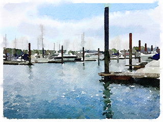 Digital watercolor painting of yachts at pontoons in a marina, with space for text.
