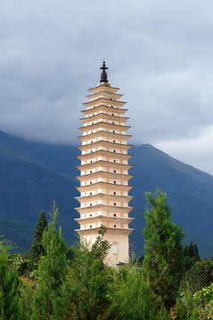Ancient city Dali in China being a tourist attraction, Famous Three Pagodas. Yunnan province, China.