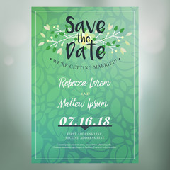 Save the date. Wedding invitation card design template with colorful blurred background. Place for photo. Stationery design. Vector illustration
