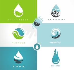 Water drops and swirls symbols and icons. Creative logo design ideas for fresh mountain spring water. Vector graphic.