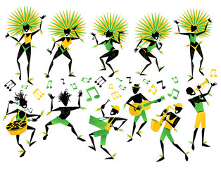Brazilian Carnival Dancers and Musicians
