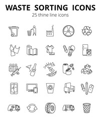 Simple Set of Garbage Related Vector Line Icons. Contains such Icons as Cardboard, Organic Waste, Plastic, Rubber, Paper Waste, Car repair