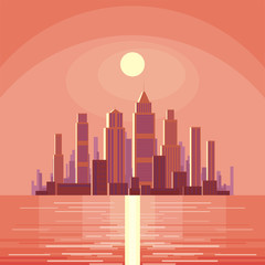 Abstract image of a modern city. Cityscape with skyscrapers. Vector background for design presentations, brochures, web sites and banners.