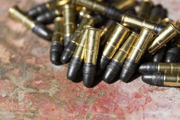 Many ammunition bullets. 22 LR for long rifle