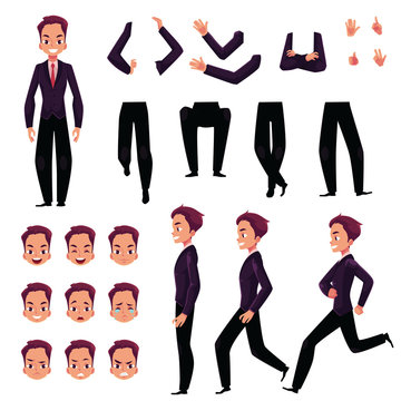 Businessman, man character creation set with different poses, gestures, faces, cartoon vector illustration on white background. Businessman creation set, constructor, changeable face, legs, arms