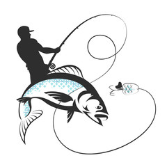 Fisherman with a fishing rod and fish