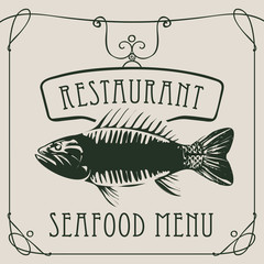 Vector restaurant menu of seafood with a big fish in a retro style with a curly frame on beige background.