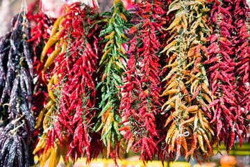 Chili peppers in market