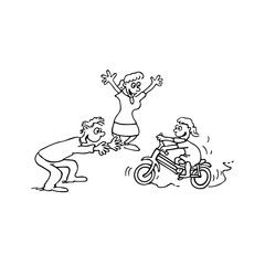 child Learn bike with parent cartoon