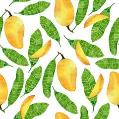 Watercolor tropic seamless pattern with mango fruits and leaves.Hand drawn illustration isolated on white background.Vietnamese fruits.