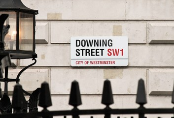 Downing Street, Westminster, London, England UK. Street sign of Downing Street residence of UK Prime Minister stock photo, stock photograph, image, picture,
