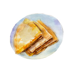 The pancakes isolated on white background, watercolor illustration in hand drawn style.