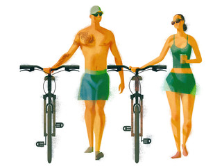 Couple walking with cycle