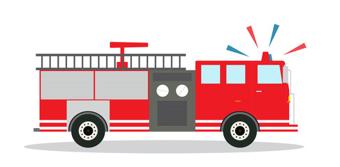 Colored Fire Truck with Siren Flat Design. Vector Illustration.
