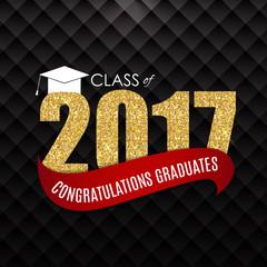 Congratulations on Graduation 2017 Class Background Vector Illus