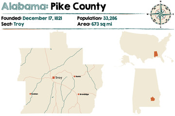 Large and detailed map of Pike County in Alabama.