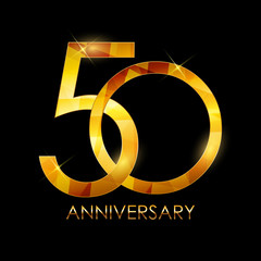 Template 50 Years Anniversary Congratulations Vector Illustratio