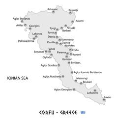 island of corfu in greece white map illustration