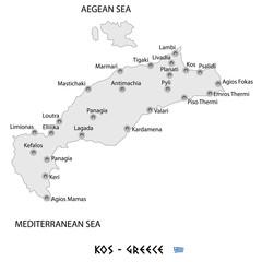 island of kos in greece white map illustration