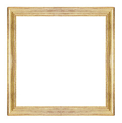 Vintage wood picture frame isolated on white background